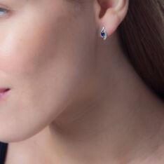 Boucles D'oreilles Puces Sagesse Or Blanc Saphir Et Diamant - Clous d'oreilles Femme | Marc Orian