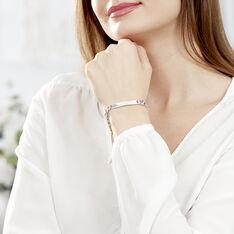 Bracelet Identité Casper Maille Gourmette Argent Blanc - Gourmettes Femme   Marc Orian