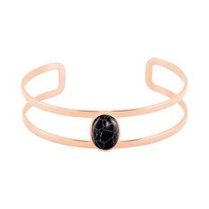 Bracelet Jonc Eline Acier Rose Pierre De Synthese - Bracelets jonc Femme | Marc Orian