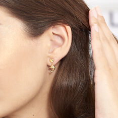 Boucles D'oreilles Pendantes Fulvie Coeurs Et Dauphin Or Jaune - Boucles d'oreilles Pendantes Femme   Marc Orian