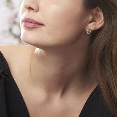 Boucles D'oreilles Puces Henia Plaque Or Jaune Oxyde De Zirconium - Clous d'oreilles Femme | Marc Orian