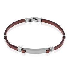 Bracelet Acier Et Cuir Marron - Bracelets Homme | Marc Orian