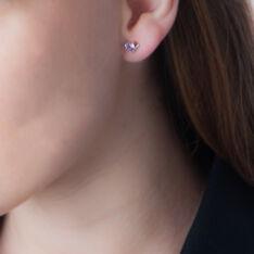 Boucles D'oreilles Puces Eva Or Jaune Amethyste Et Oxyde De Zirconium - Clous d'oreilles Femme | Marc Orian