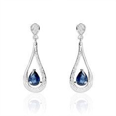 Boucles D'oreilles Pendantes Or Blanc Saphir Et Diamant - Boucles d'oreilles Pendantes Femme | Marc Orian