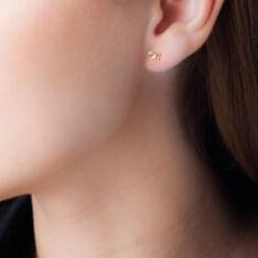 Boucles D'oreilles Puces Eleanor Fleur Or Jaune Oxyde De Zirconium - Clous d'oreilles Femme   Marc Orian