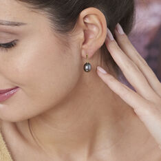 Boucles D'oreilles Pendantes Semi-baroque Or Jaune Perle De Tahiti - Boucles d'oreilles Pendantes Femme   Marc Orian