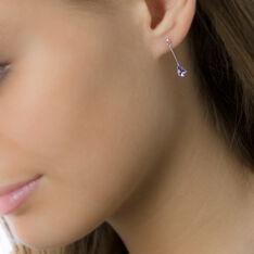 Boucles D'oreilles Pendantes Goutte Or Blanc Amethyste - Boucles d'oreilles Pendantes Femme | Marc Orian