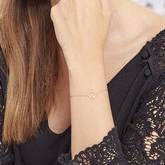 Bracelet Plaque Or Lila Oxyde Central Cercle Pave Oxyde - Bracelets chaînes Femme | Marc Orian