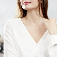 Collier Eliana Or Blanc Topaze Diamants - Colliers Femme | Marc Orian