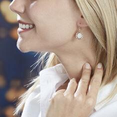 Boucles D'oreilles Pendantes Li-nei Plaque Or Jaune Pierre De Lune - Boucles d'oreilles Pendantes Femme | Marc Orian