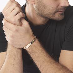 Bracelet Identité Bixente Maille Alternee 1/3 Plaque Or Jaune - Gourmettes Homme   Marc Orian
