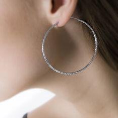 Créoles Agathe Diamantees Argent Blanc - Boucles d'oreilles Créoles Femme | Marc Orian