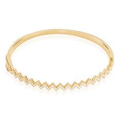 Bracelet Jonc Reihane Plaque Or Jaune Oxyde De Zirconium - Bracelets jonc Femme | Marc Orian