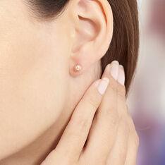 Boucles D'oreilles Argent Rose Puce Boule - Clous d'oreilles Femme | Marc Orian