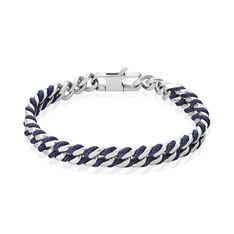 Jonc Acier Maillons Fil Bleu Acier - Bracelets jonc Homme | Marc Orian