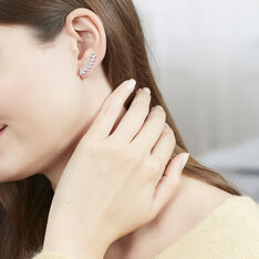 Bijoux D'oreilles Argent Rhodie Folia Feuille - Boucles d'oreilles Ear cuffs Femme | Marc Orian