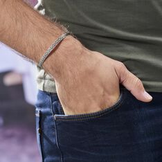 Bracelet Jonc Oscaro Argent Gris - Bracelets jonc Homme | Marc Orian