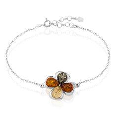 Bracelet Argent Fleur Ambres Multicolores - Bracelets chaînes Femme | Marc Orian