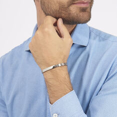 Bracelet Identité Isidore Acier Blanc - Gourmettes Homme | Marc Orian