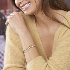 Bracelet Jonc Reyyanae Plaque Or Jaune Oxyde De Zirconium - Bracelets jonc Femme   Marc Orian