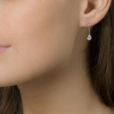Boucles D'oreilles Pendantes Goutte Or Blanc Oxyde De Zirconium - Boucles d'oreilles Pendantes Femme   Marc Orian