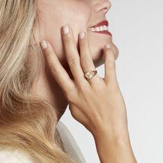 Chevalière Gabia Plaque Or Jaune Oxyde De Zirconium - Chevalières Femme | Marc Orian