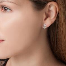 Boucles D'oreilles Puces Barbera Or Blanc Oxyde De Zirconium - Clous d'oreilles Femme | Marc Orian