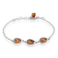 Bracelet Anaide Argent Blanc Ambre - Bracelets chaînes Femme | Marc Orian
