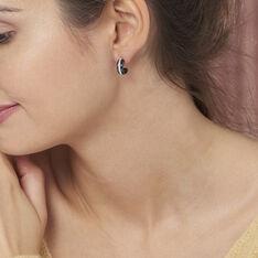 Créoles Noci Demi Cercle Argent Blanc Céramique Et Oxyde De Zirconium - Boucles d'oreilles Créoles Femme | Marc Orian