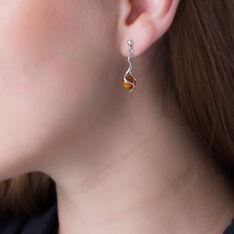 Boucles D'oreilles Pendantes Ferima Argent Blanc Ambre - Boucles d'oreilles Pendantes Femme | Marc Orian