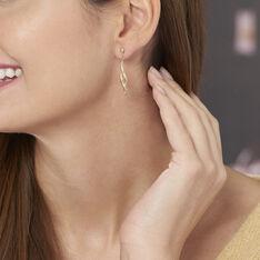 Boucles D'oreilles Pendantes Merone Vagues Or Jaune - Boucles d'oreilles Pendantes Femme   Marc Orian