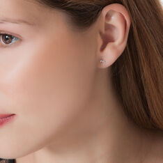 Boucles D'oreilles Puces Anne-maudae Coeurs Or Blanc - Clous d'oreilles Femme | Marc Orian