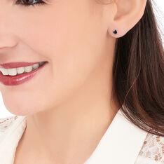 Boucles D'oreilles Puces Edy Serti Clos Or Blanc Saphir - Clous d'oreilles Femme | Marc Orian