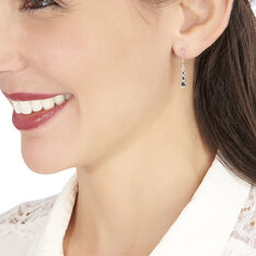 Boucles D'oreilles Pendantes Josephine Or Blanc Saphir Et Diamant - Boucles d'oreilles Pendantes Femme | Marc Orian
