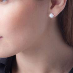 Boucles D'oreilles Puces Orbe Argent Blanc Céramique - Clous d'oreilles Femme | Marc Orian