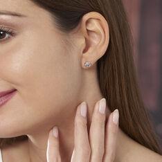 Boucles D'oreilles Puces Iloa Argent Blanc - Clous d'oreilles Femme | Marc Orian