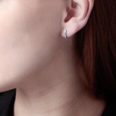 Créoles Jacoba Rondes Or Blanc Oxyde De Zirconium - Boucles d'oreilles Créoles Femme   Marc Orian