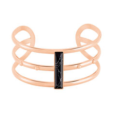 Bracelet Jonc Medina Acier Rose Pierre De Synthese - Bracelets jonc Femme | Marc Orian
