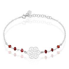 Bracelet Argent Rhodie Motif Simple Avec Deux Perles D'imitation - Bracelets chaînes Femme | Marc Orian
