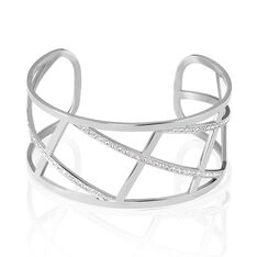 Bracelet Jonc Melodi Acier Blanc Strass - Bracelets jonc Femme | Marc Orian