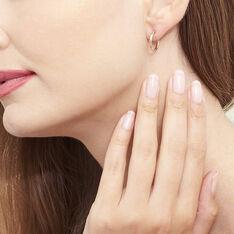 Créoles Agathe Diamantees Argent Rose - Boucles d'oreilles Créoles Femme   Marc Orian