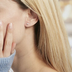 Boucles D'oreilles Puces Ayana Argent Blanc - Clous d'oreilles Femme | Marc Orian
