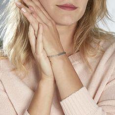 Bracelet Identité Caroline Maille Grain De Cafe Argent Blanc - Gourmettes Femme   Marc Orian
