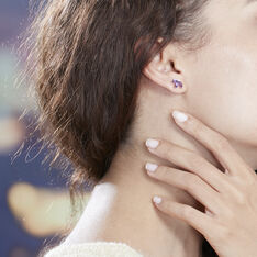 Boucles D'oreilles Puces Augustina Or Jaune Amethyste Oxyde - Clous d'oreilles Femme | Marc Orian