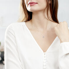 Collier Eliana Or Blanc Topaze Et Oxyde De Zirconium - Colliers Femme   Marc Orian