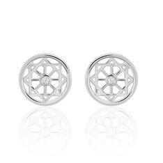 Boucles D'oreilles Puces Peinda Argent Blanc Oxyde De Zirconium - Clous d'oreilles Femme | Marc Orian