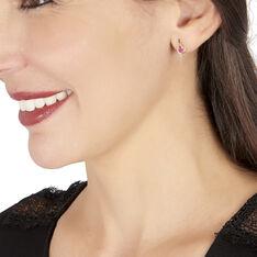 Boucles D'oreilles Puces Sagesse Or Jaune Rubis Et Diamant - Clous d'oreilles Femme | Marc Orian