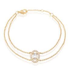 Bracelet Classical Plaque Or Jaune Oxyde De Zirconium - Bracelets chaînes Femme | Marc Orian