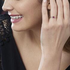 Bague Ondulation Or Bicolore Rubis Et Diamant - Bagues Femme   Marc Orian