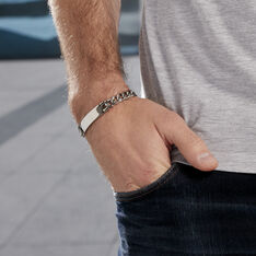 Bracelet Acier Ludo Gourmette Plaque - Bracelets chaînes Homme | Marc Orian